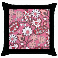 Flower Floral Red Blush Pink Throw Pillow Case (black) by Alisyart