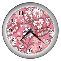 Flower Floral Red Blush Pink Wall Clocks (silver)  by Alisyart