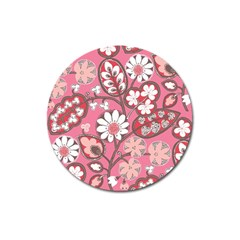 Flower Floral Red Blush Pink Magnet 3  (round)