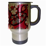 Flower Floral Red Blush Pink Travel Mug (Silver Gray) Right