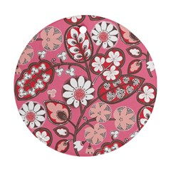 Flower Floral Red Blush Pink Round Ornament (two Sides) by Alisyart