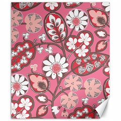 Flower Floral Red Blush Pink Canvas 20  X 24