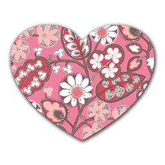 Flower Floral Red Blush Pink Heart Mousepads