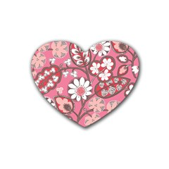 Flower Floral Red Blush Pink Rubber Coaster (heart)  by Alisyart