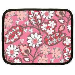 Flower Floral Red Blush Pink Netbook Case (large) by Alisyart