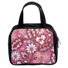 Flower Floral Red Blush Pink Classic Handbags (2 Sides)