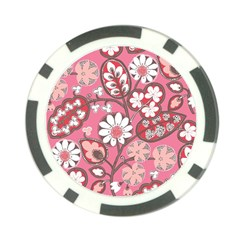 Flower Floral Red Blush Pink Poker Chip Card Guard (10 Pack)