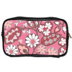Flower Floral Red Blush Pink Toiletries Bags 2 Side by Alisyart