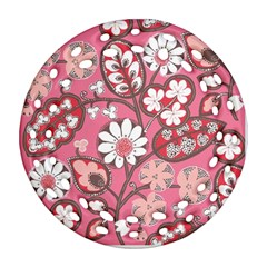 Flower Floral Red Blush Pink Round Filigree Ornament (two Sides) by Alisyart