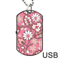 Flower Floral Red Blush Pink Dog Tag Usb Flash (two Sides) by Alisyart