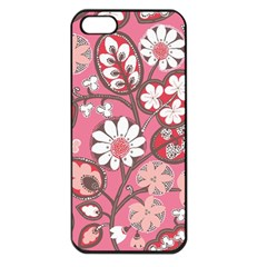 Flower Floral Red Blush Pink Apple Iphone 5 Seamless Case (black)