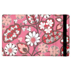 Flower Floral Red Blush Pink Apple Ipad 3/4 Flip Case by Alisyart