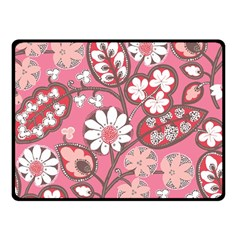 Flower Floral Red Blush Pink Double Sided Fleece Blanket (small)
