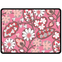 Flower Floral Red Blush Pink Double Sided Fleece Blanket (large)  by Alisyart