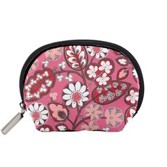 Flower Floral Red Blush Pink Accessory Pouches (small)  by Alisyart