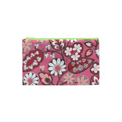 Flower Floral Red Blush Pink Cosmetic Bag (xs)