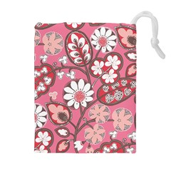 Flower Floral Red Blush Pink Drawstring Pouches (extra Large) by Alisyart