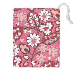 Flower Floral Red Blush Pink Drawstring Pouches (xxl) by Alisyart
