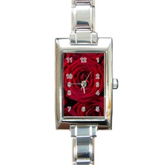 Roses Flowers Red Forest Bloom Rectangle Italian Charm Watch