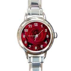 Roses Flowers Red Forest Bloom Round Italian Charm Watch