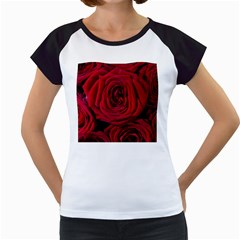 Roses Flowers Red Forest Bloom Women s Cap Sleeve T