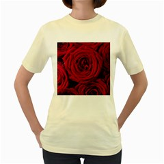 Roses Flowers Red Forest Bloom Women s Yellow T-Shirt