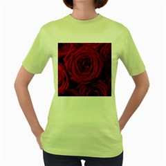 Roses Flowers Red Forest Bloom Women s Green T-Shirt
