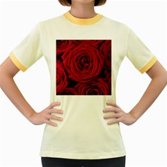 Roses Flowers Red Forest Bloom Women s Fitted Ringer T-Shirts