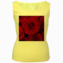 Roses Flowers Red Forest Bloom Women s Yellow Tank Top
