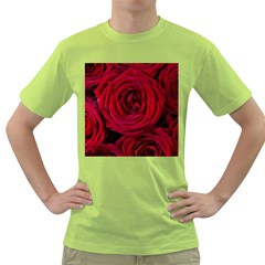 Roses Flowers Red Forest Bloom Green T-Shirt