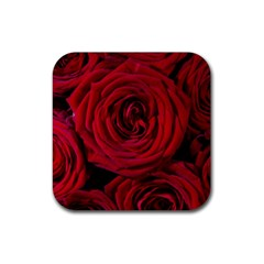 Roses Flowers Red Forest Bloom Rubber Square Coaster (4 pack)