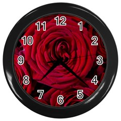 Roses Flowers Red Forest Bloom Wall Clocks (Black)