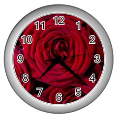 Roses Flowers Red Forest Bloom Wall Clocks (Silver)