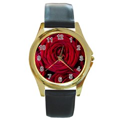 Roses Flowers Red Forest Bloom Round Gold Metal Watch