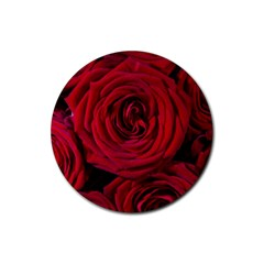 Roses Flowers Red Forest Bloom Rubber Coaster (Round)