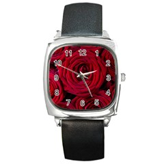 Roses Flowers Red Forest Bloom Square Metal Watch