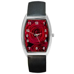 Roses Flowers Red Forest Bloom Barrel Style Metal Watch