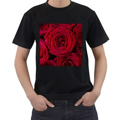 Roses Flowers Red Forest Bloom Men s T-Shirt (Black) (Two Sided)