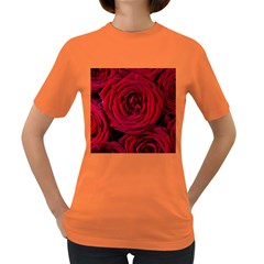 Roses Flowers Red Forest Bloom Women s Dark T-Shirt