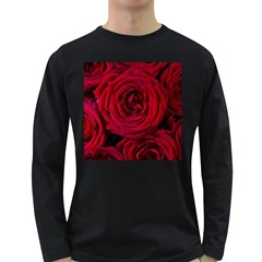 Roses Flowers Red Forest Bloom Long Sleeve Dark T-Shirts