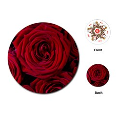 Roses Flowers Red Forest Bloom Playing Cards (Round)