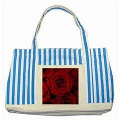 Roses Flowers Red Forest Bloom Striped Blue Tote Bag
