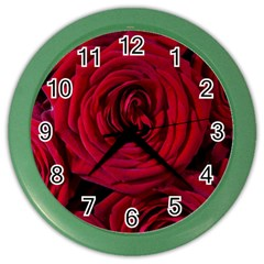 Roses Flowers Red Forest Bloom Color Wall Clocks