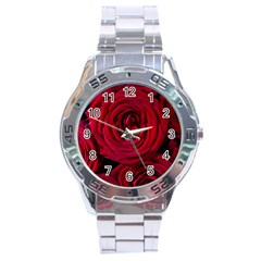 Roses Flowers Red Forest Bloom Stainless Steel Analogue Watch