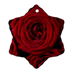 Roses Flowers Red Forest Bloom Ornament (Snowflake)