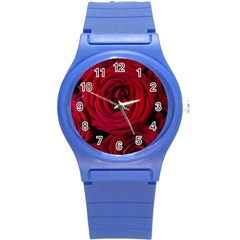 Roses Flowers Red Forest Bloom Round Plastic Sport Watch (S)