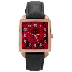 Roses Flowers Red Forest Bloom Rose Gold Leather Watch