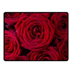 Roses Flowers Red Forest Bloom Double Sided Fleece Blanket (Small)