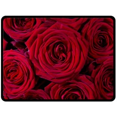 Roses Flowers Red Forest Bloom Double Sided Fleece Blanket (Large)