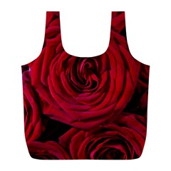 Roses Flowers Red Forest Bloom Full Print Recycle Bags (L)